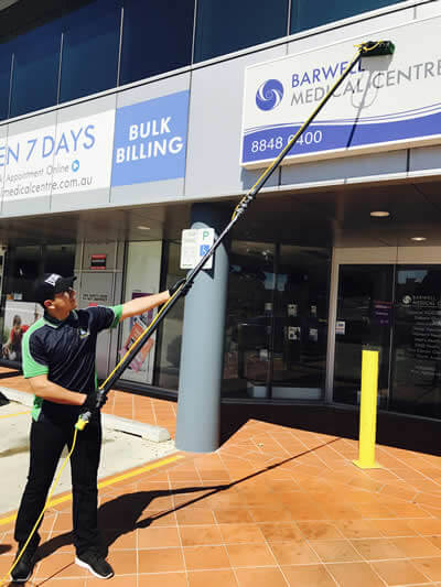 signage cleaning in castle hill with water fed pole